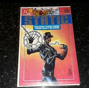 1st Signed STATIC Comic book DC Denny Cowan